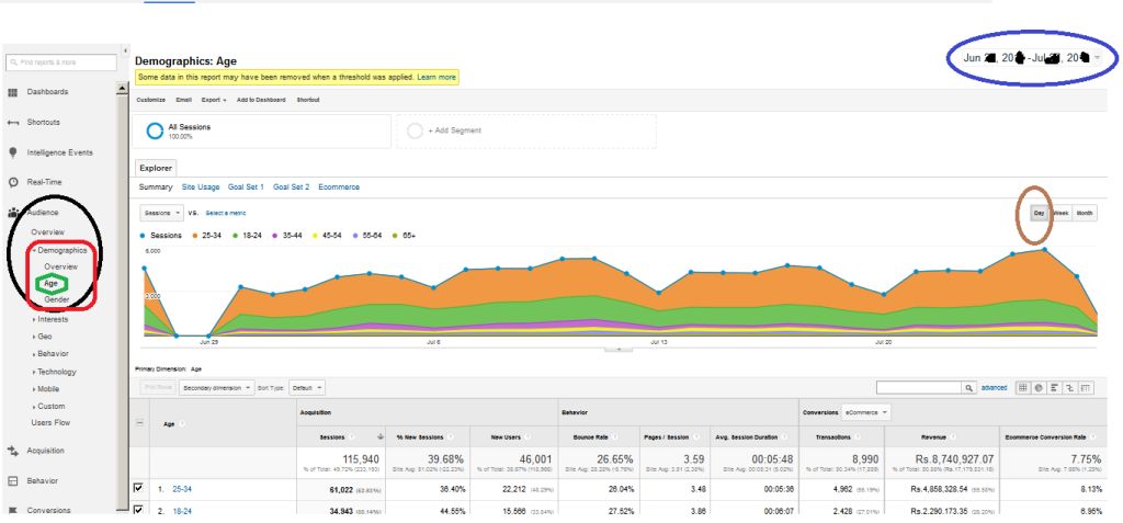 Day-wise Session to Transaction Traffic Report by Audience from Google Analytics
