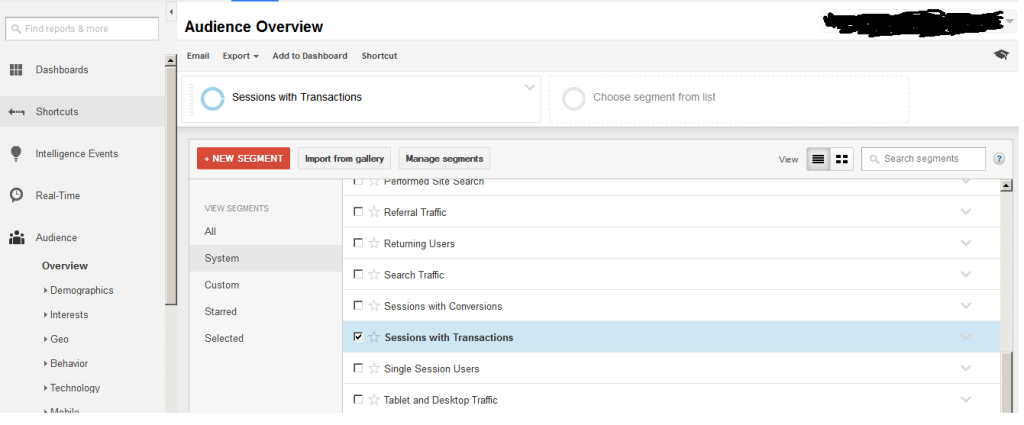 Google Analytics Segmentation Tool Panel